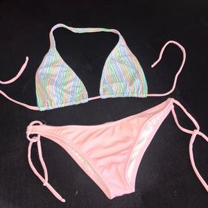 Pink and pastel colors cute swimsuit, size M